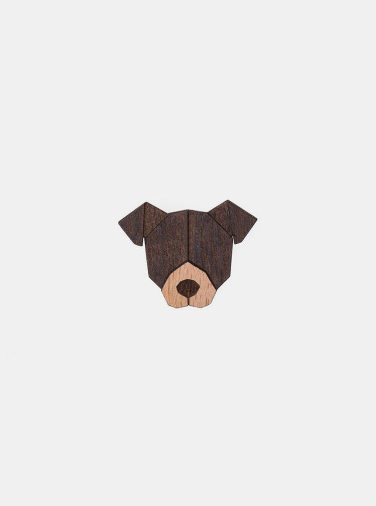 Dřevěná brož ve tvaru psa American Pit Bull Terrier Brooch BeWooden