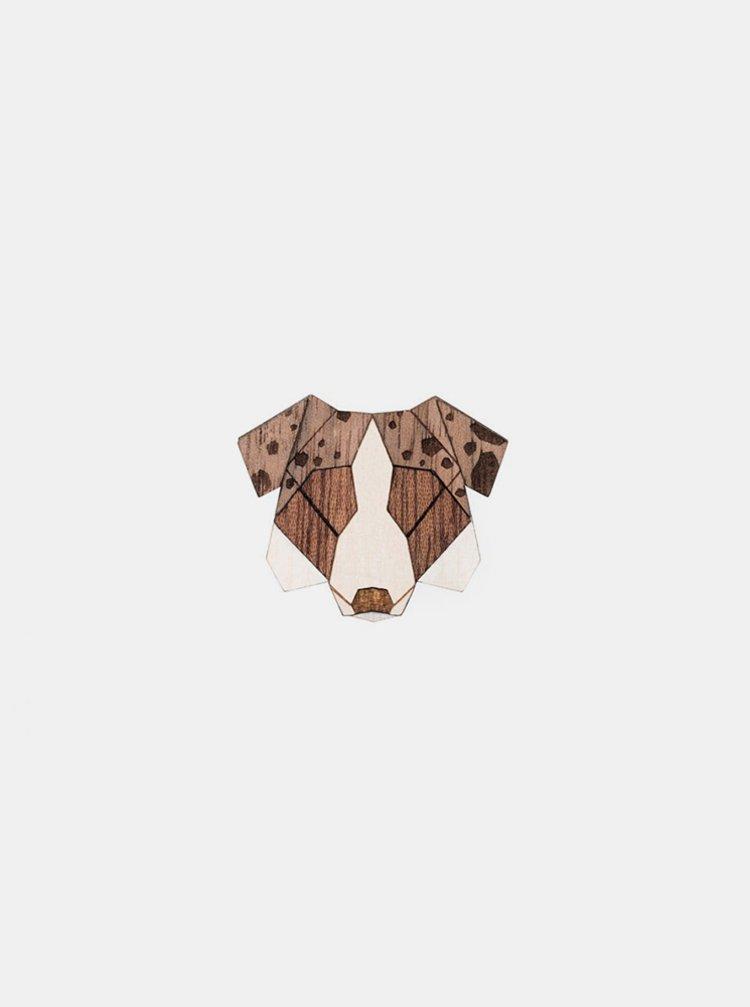 Dřevěná brož ve tvaru psa Australian Shepherd Brooch BeWooden