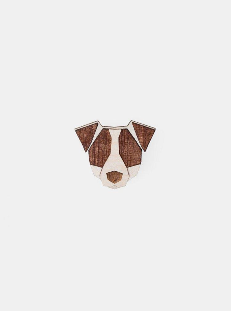 Dřevěná brož ve tvaru psa Jack Russell Brooch BeWooden