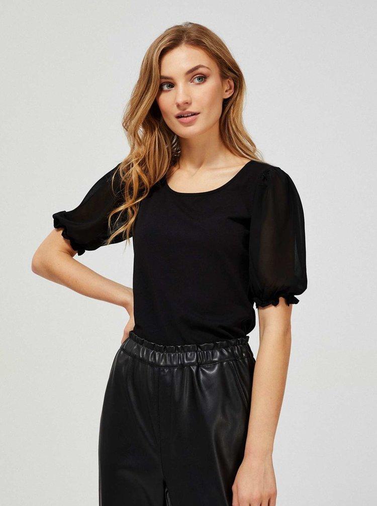 Moodo čierne tričko s transparentnými rukávmi