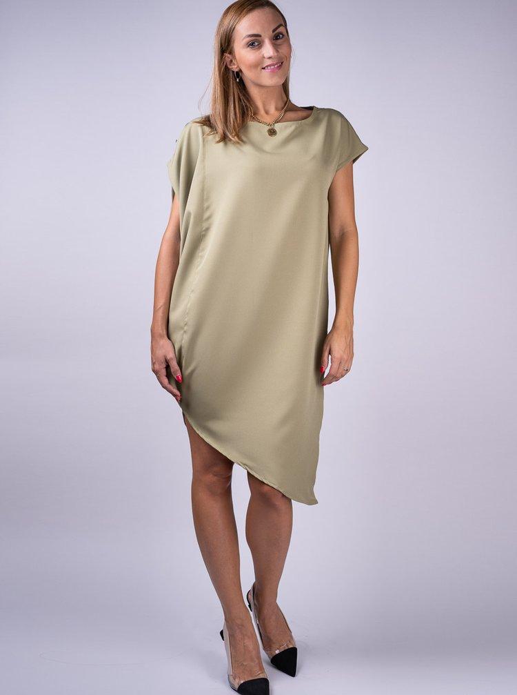 Simpo khaki asymetrické šaty Storm bez opasku