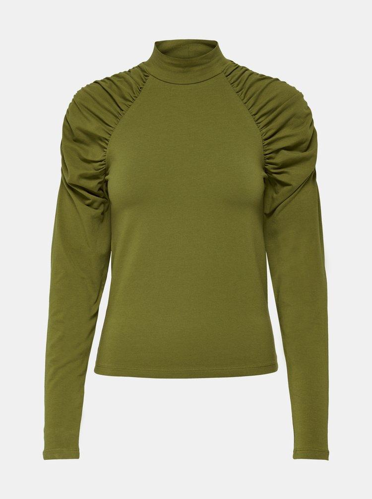 Zelené tričko s nařasenými rukávy ONLY