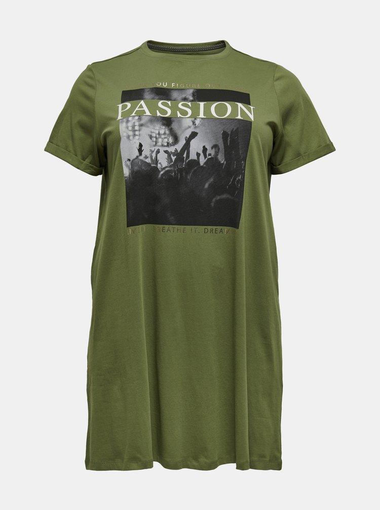 Zelené dlhé tričko s potlačou ONLY CARMAKOMA Simply