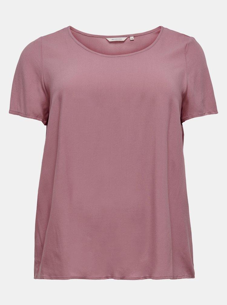 Růžové volné basic tričko ONLY CARMAKOMA Firstly