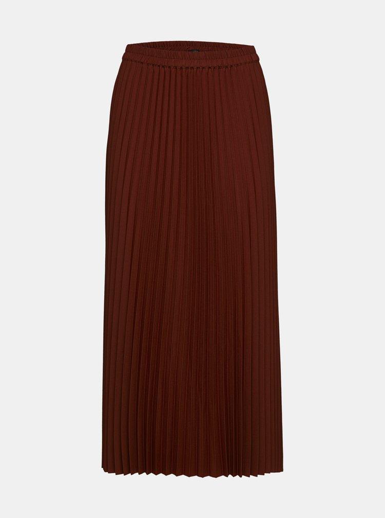 Hnedá plisovaná midi sukňa Selected Femme Alexis
