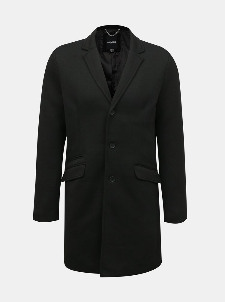 Černý kabát ONLY & SONS Julian