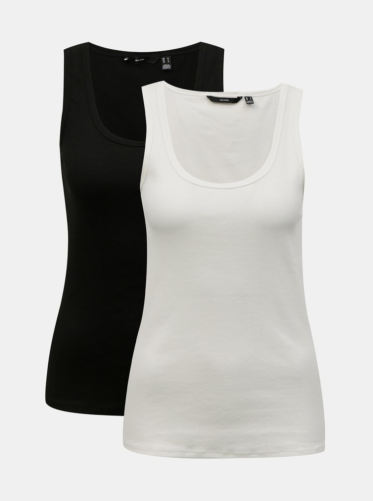 Sada dvoch basic tielok v čiernej a bielej farbe VERO MODA Jessica