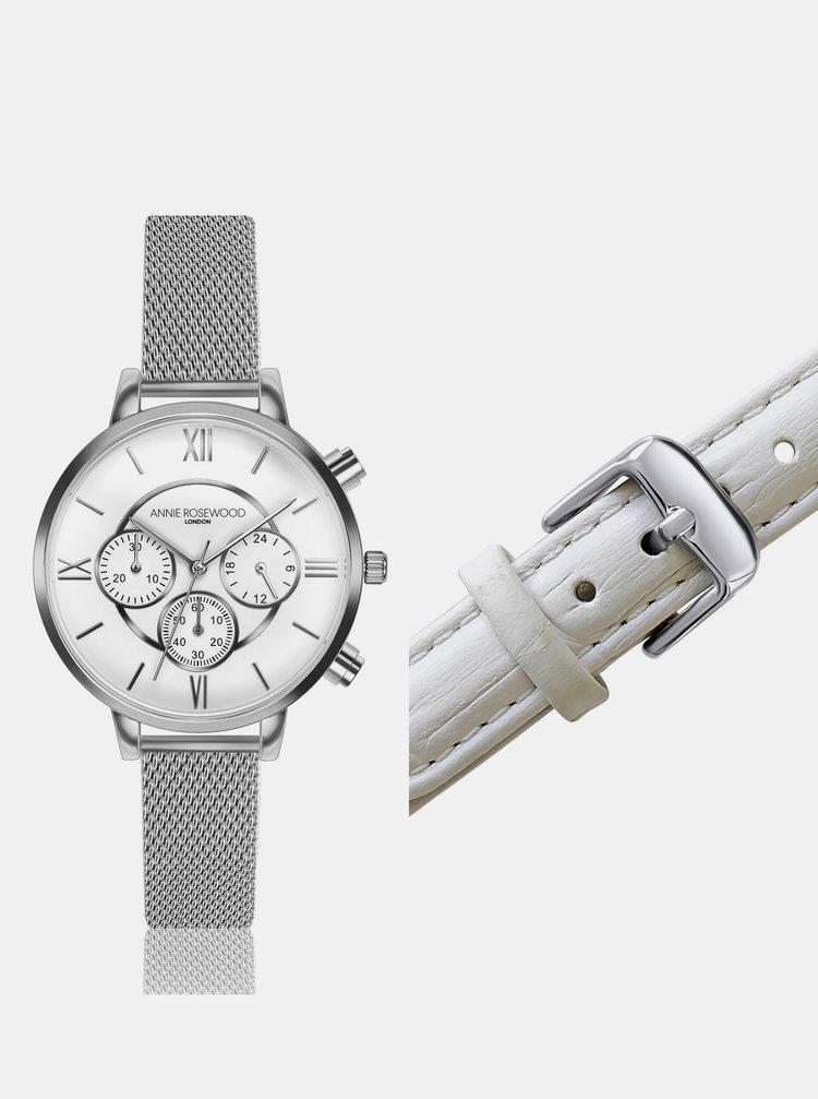 Dámské hodinky s vyměnitelným páskem ve stříbrné a bílé barvě Annie Rosewood