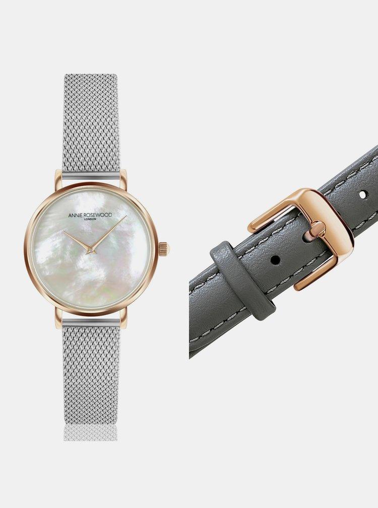 Dámské hodinky s vyměnitelným páskem ve stříbrné a šedé barvě Annie Rosewood