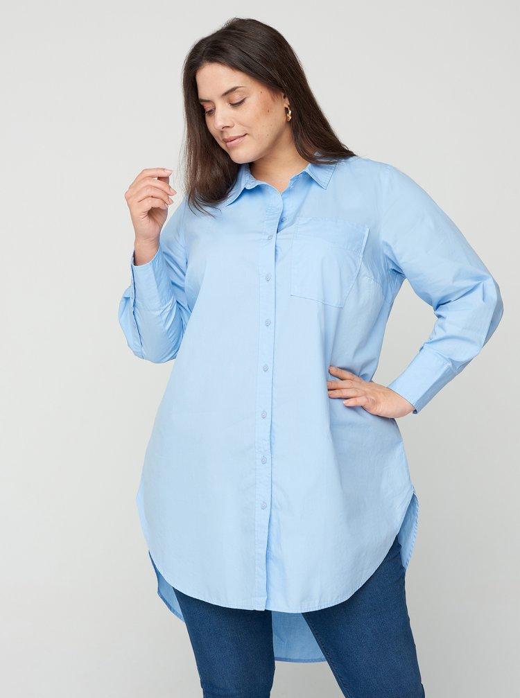 Světle modrá dlouhá košile Zizzi