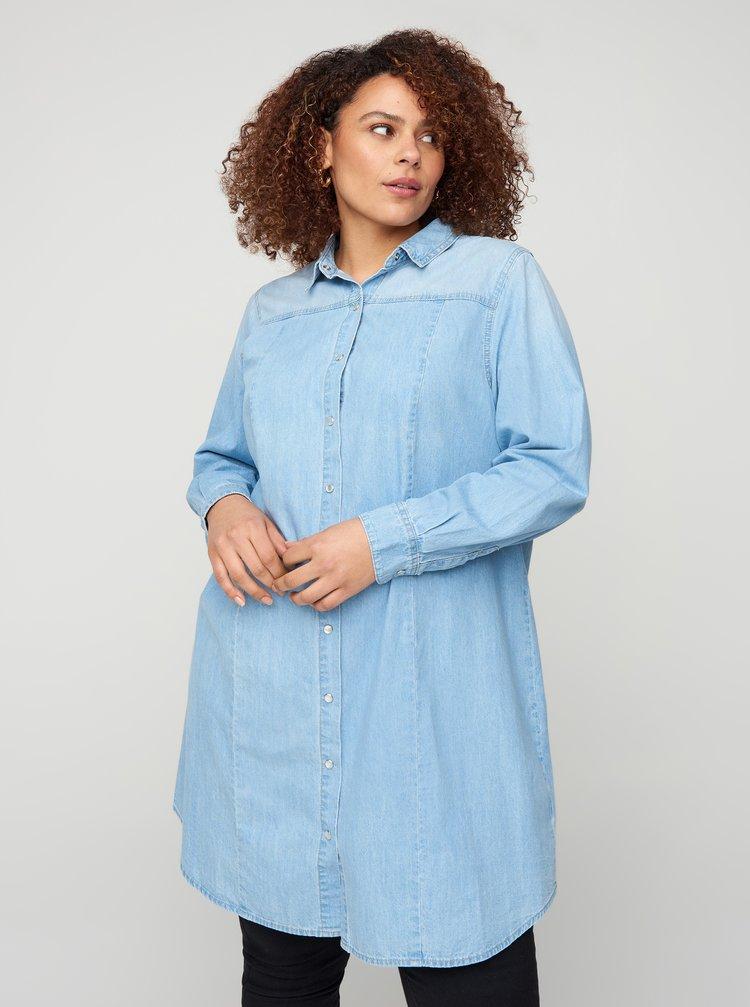 Světle modré košilové šaty Zizzi