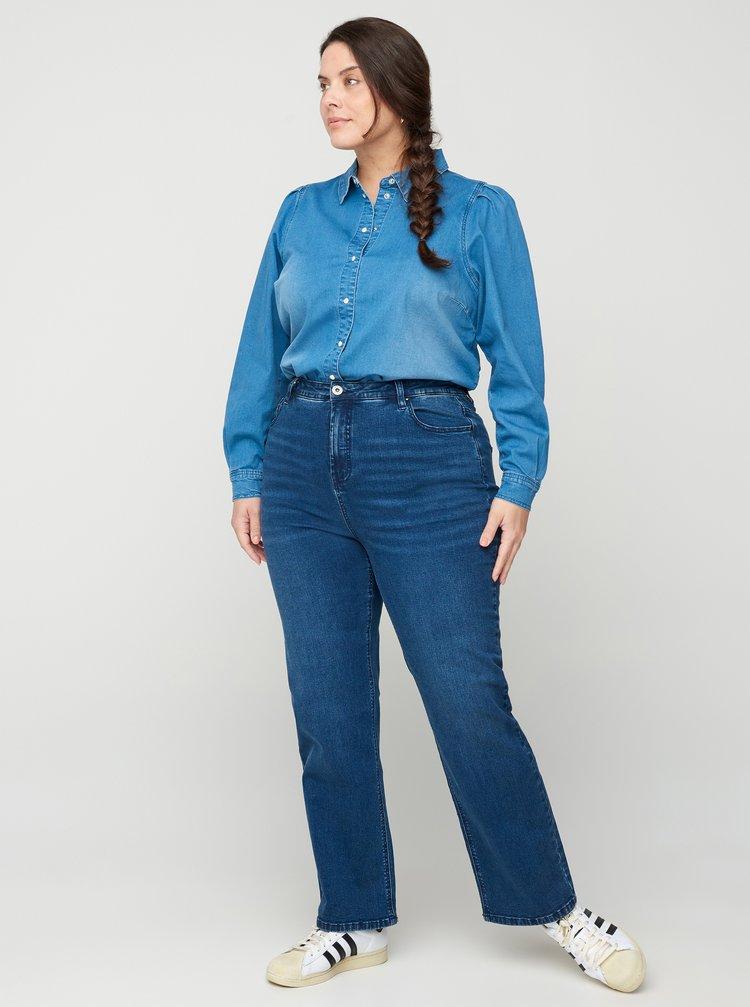Modré straight fit džíny Zizzi