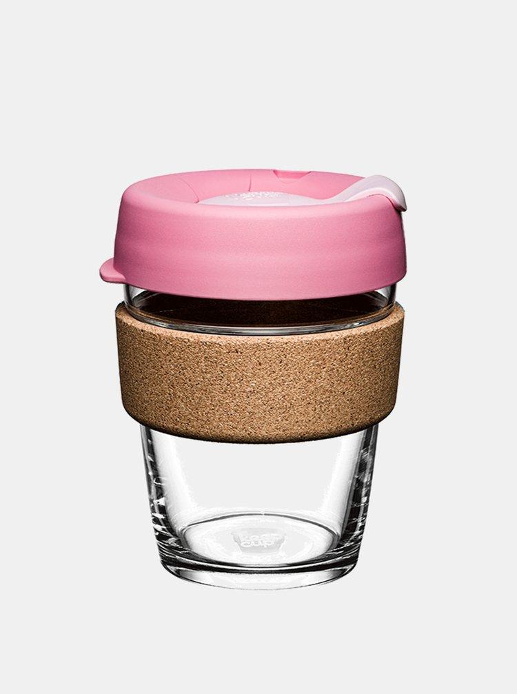 Růžový skleněný cestovní hrnek KeepCup Brew Cork Medium 340 ml