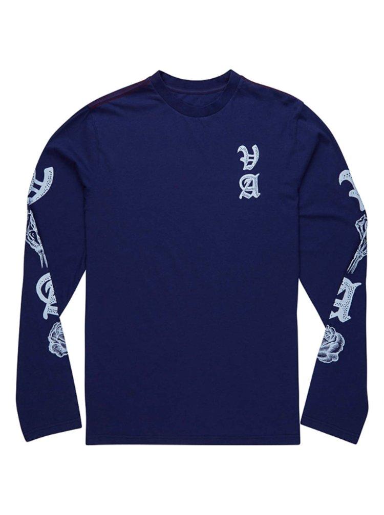 RVCA ROSE PUSH  blue depths pánské triko s dlouhým rukávem - modrá