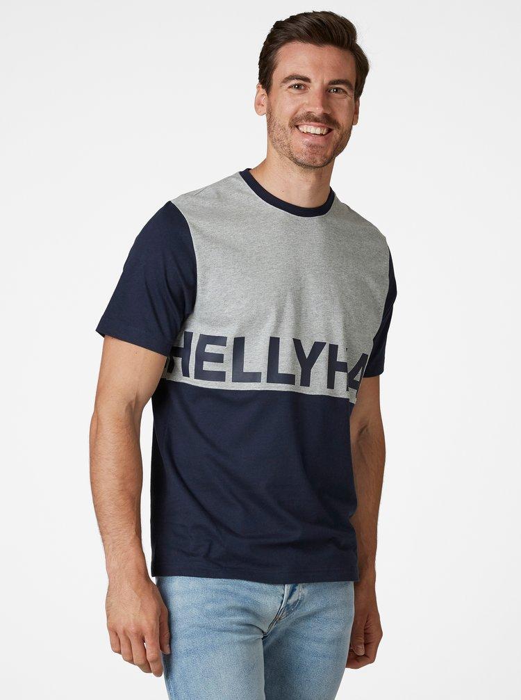 Šedo-modré pánské tričko s potiskem HELLY HANSEN Active