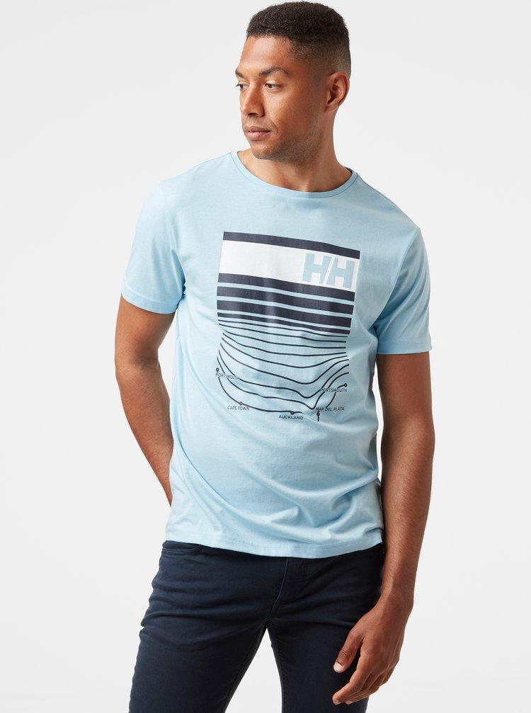 Světle modré pánské tričko s potiskem HELLY HANSEN