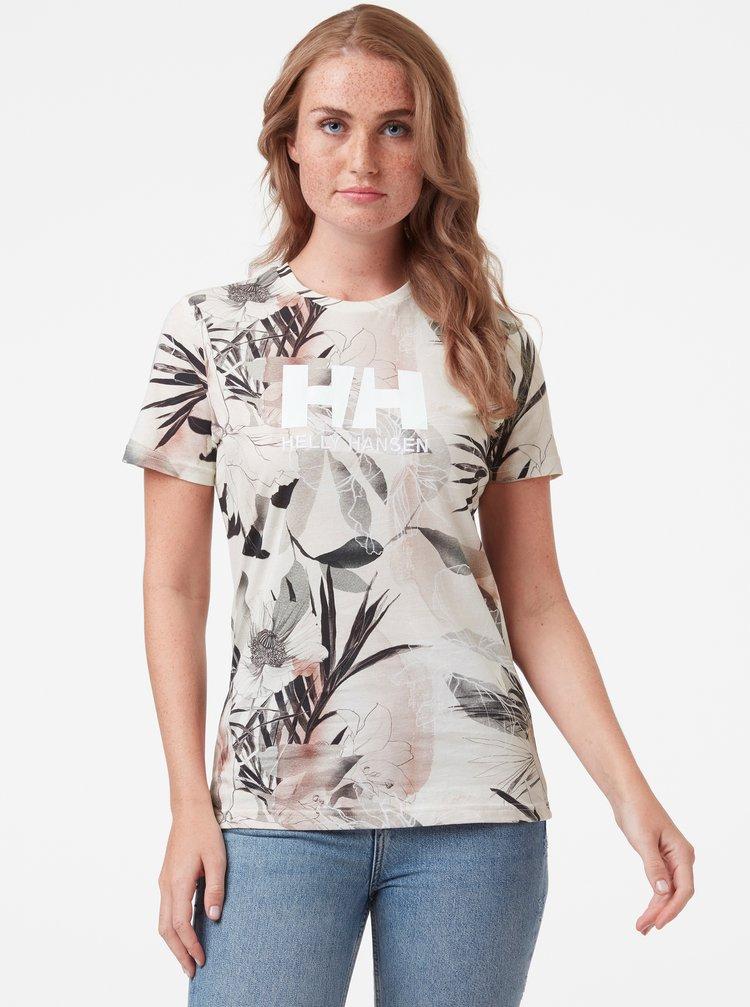 Krémové dámske kvetované tričko HELLY HANSEN