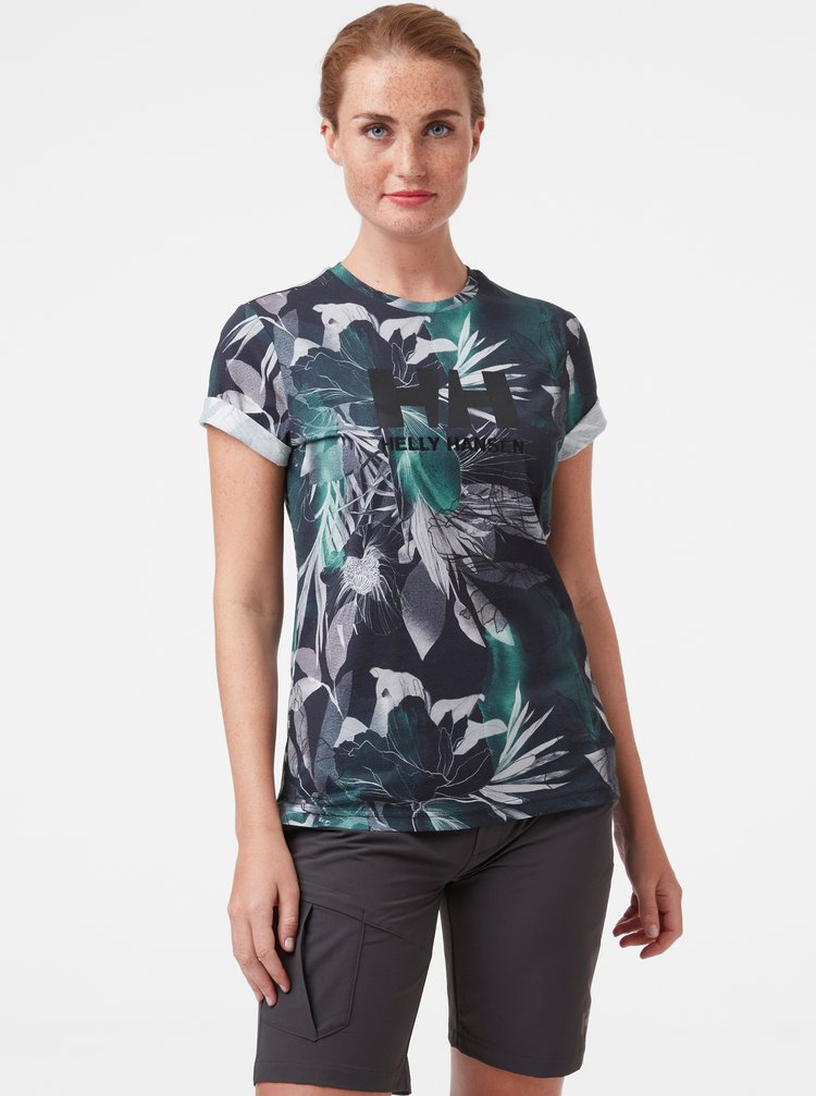 Zeleno-šedé dámské květované tričko HELLY HANSEN