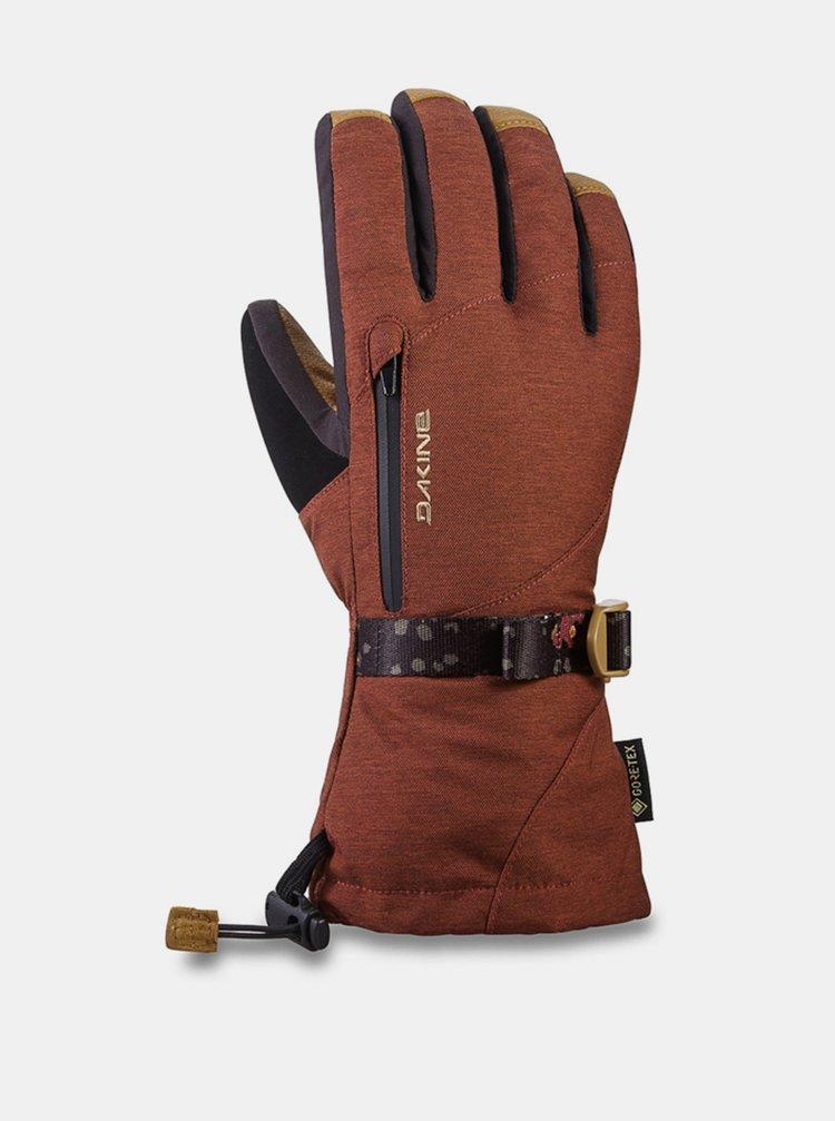 Dakine LEATHER SEQUOIA DARK ROSE zimní prstové rukavice - červená