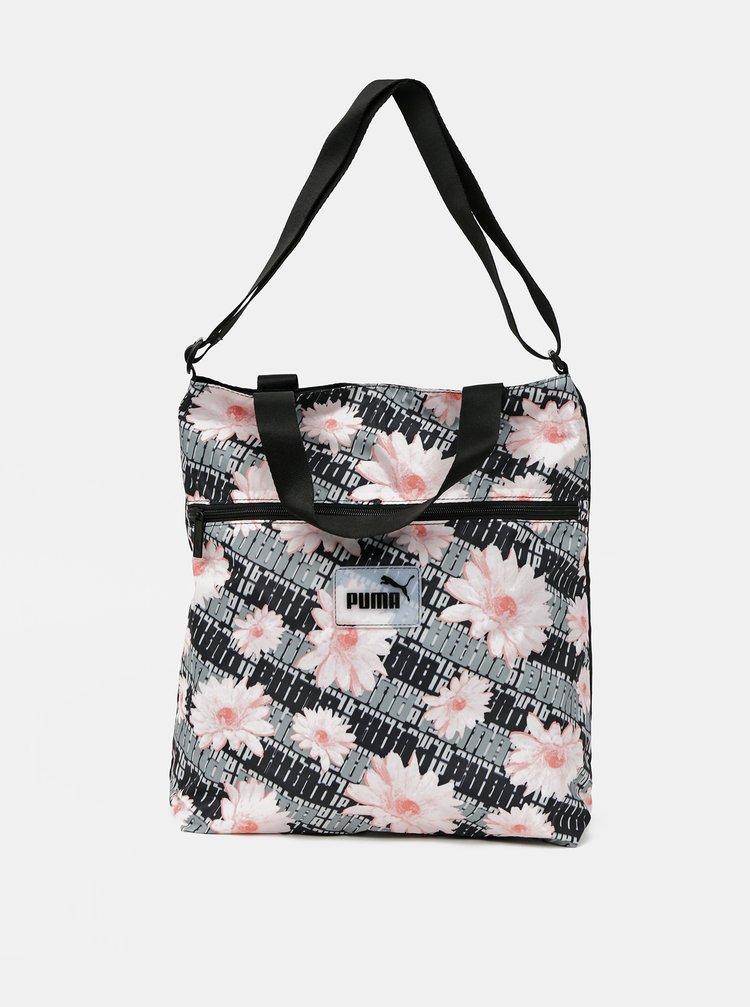 Šedo-černá dámská květovaná taška Puma