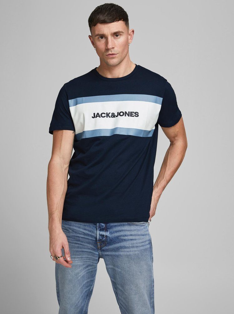 Tmavě modré tričko s potiskem Jack & Jones Shake