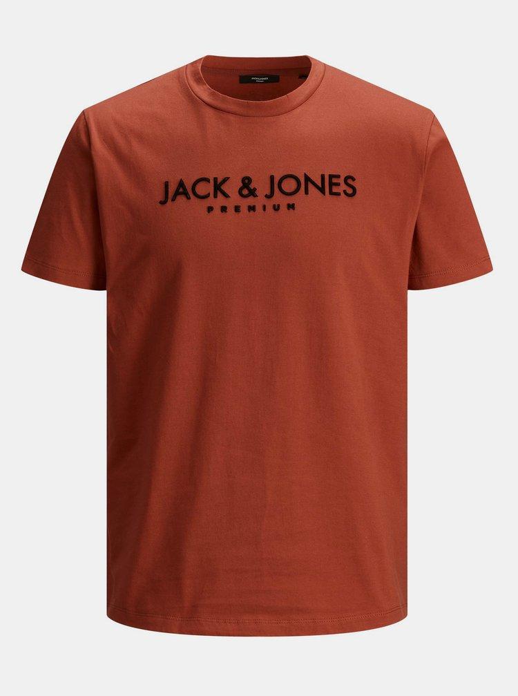 Cihlové tričko Jack & Jones Jake