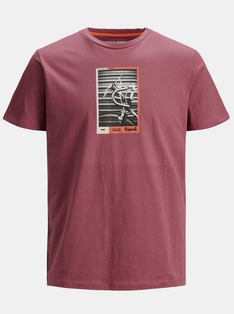 Růžové tričko s potiskem Jack & Jones Rall