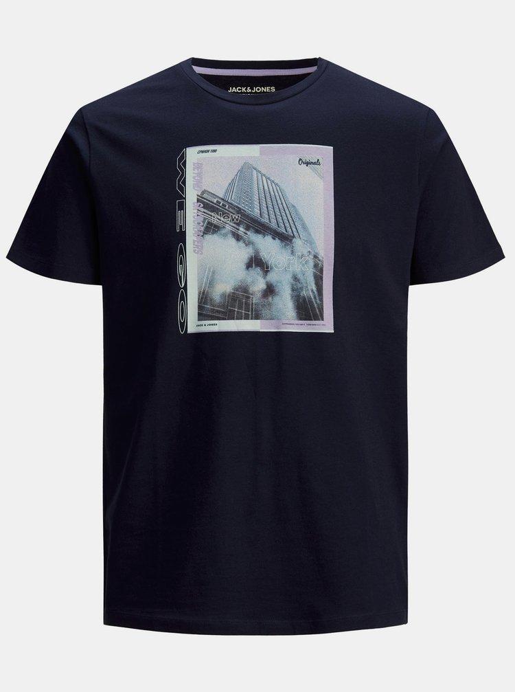 Tmavě modré tričko s potiskem Jack & Jones Rall