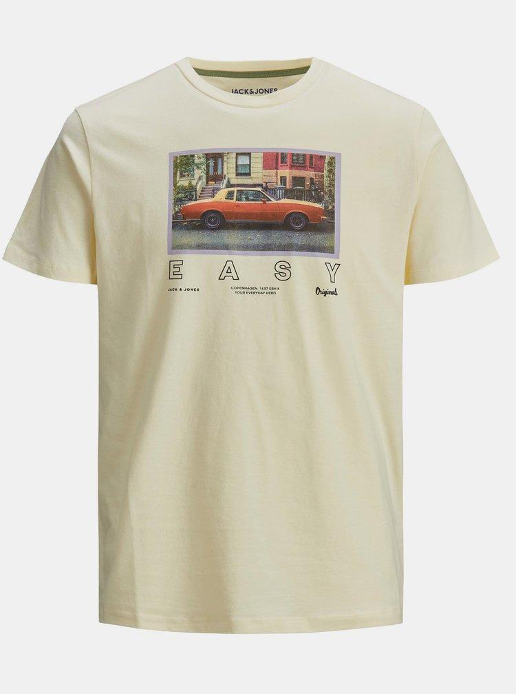 Světle žluté tričko s potiskem Jack & Jones Rall