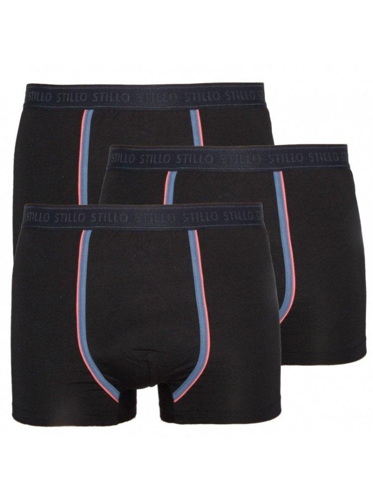 3PACK pánské boxerky Stillo černé s šedým pruhem