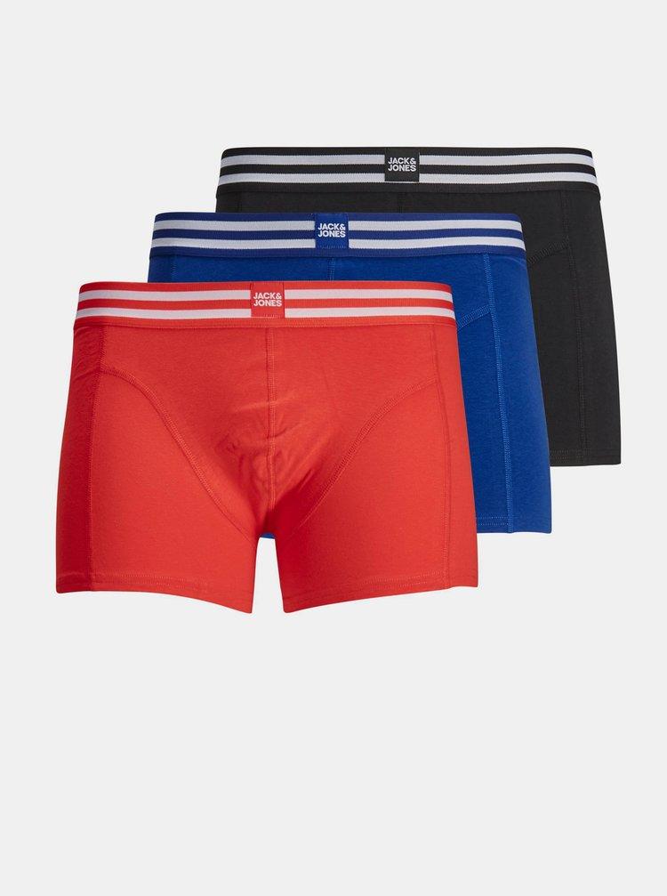 Sada troch boxeriek v modrej a červenej farbe Jack & Jones Sporty