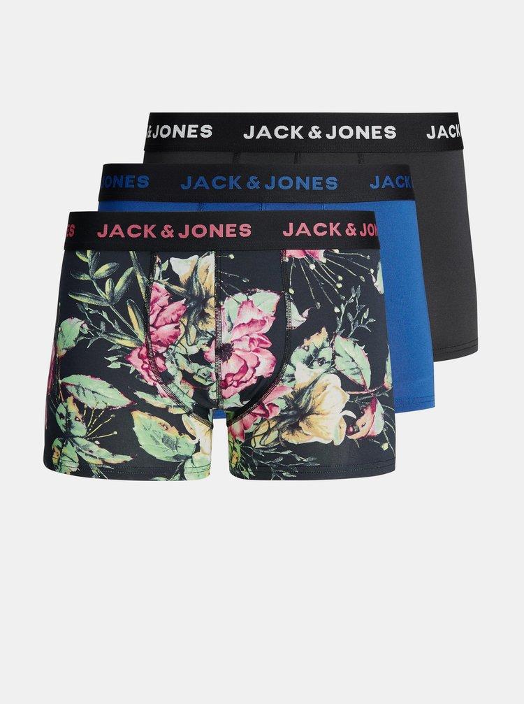 Sada troch boxeriek v modrej a čiernej farbe Jack & Jones Dark