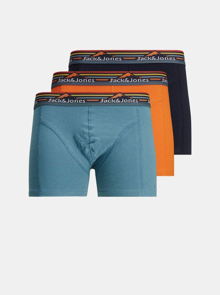 Sada troch boxeriek v oranžovej a modrej farbe Jack & Jones Mountain