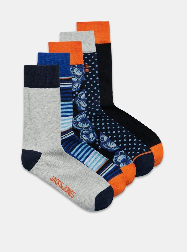 Sada pěti párů vzorovaných ponožek v modré barvě Jack & Jones Blueis