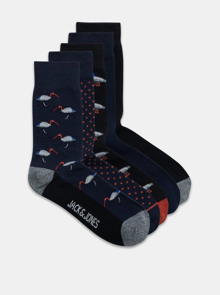 Sada pěti párů vzorovaných ponožek v modré barvě Jack & Jones