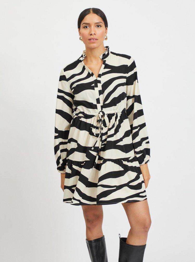 Černo-krémové šaty se zebřím vzorem VILA Omina