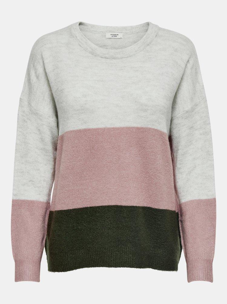 Ružovo-šedý voľný sveter Jacqueline de Yong Elanora
