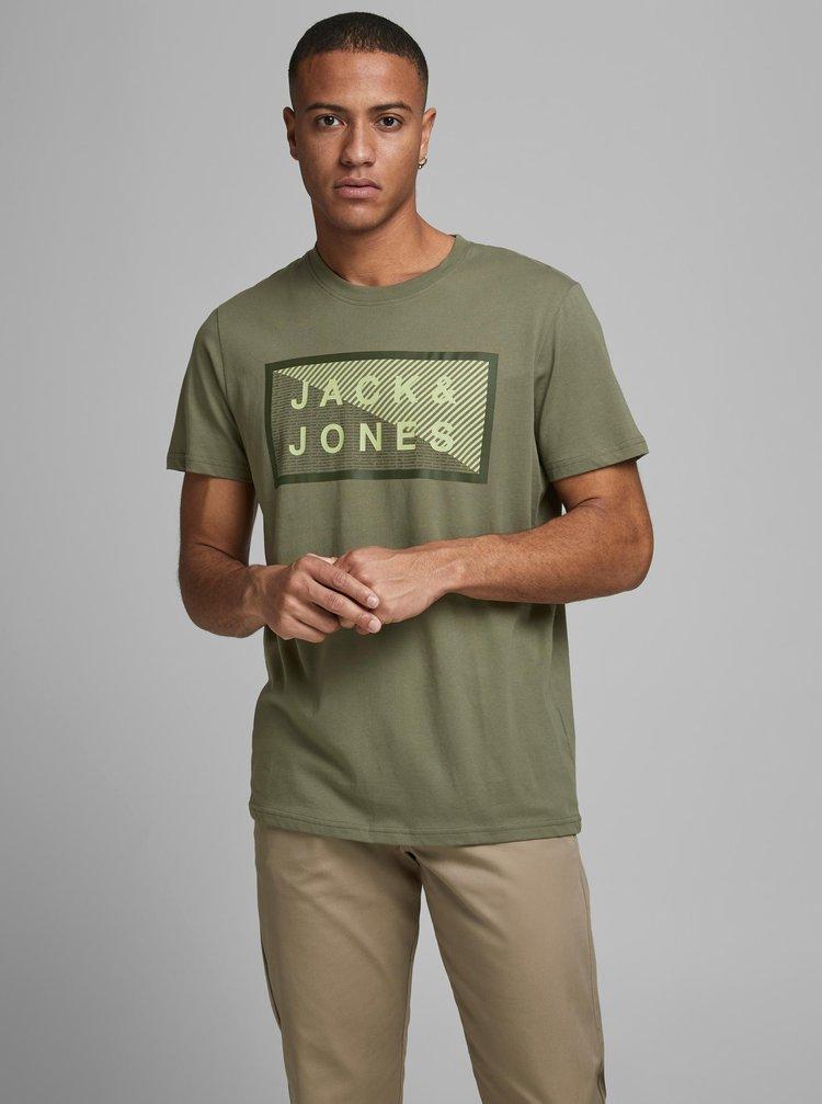 Kaki tričko s potlačou Jack & Jones Shawn