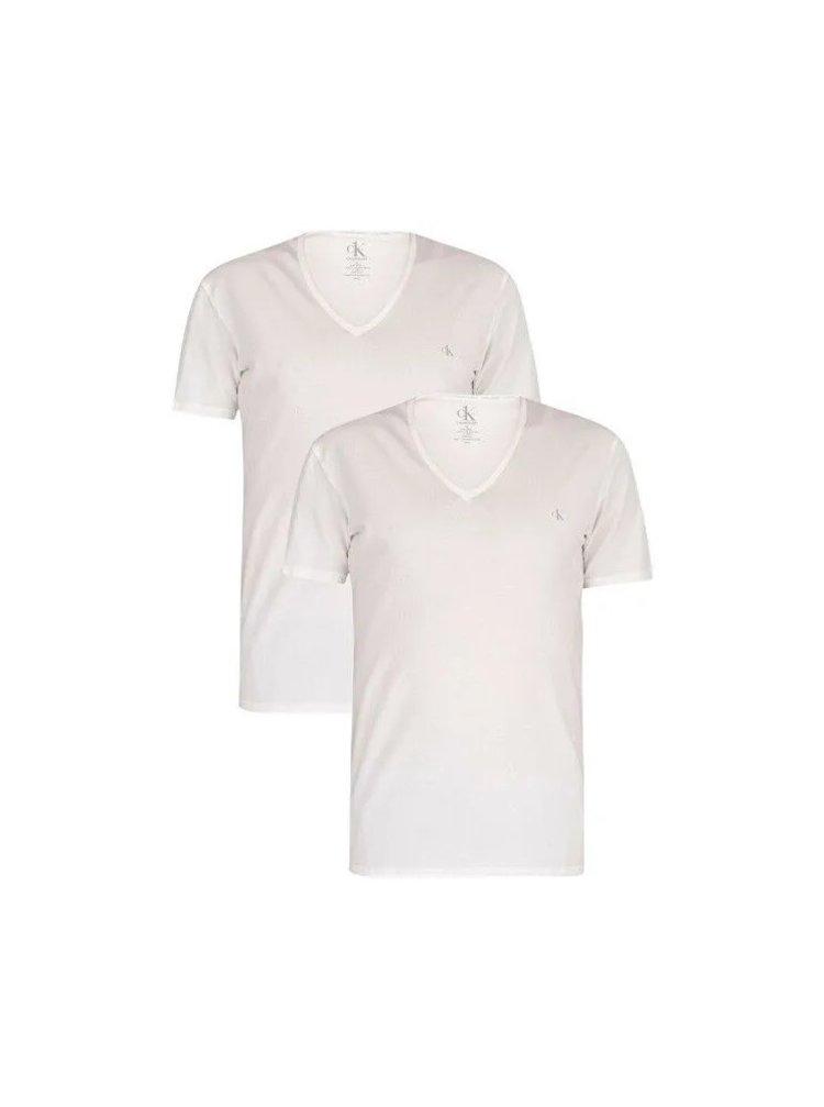 2PACK pánské tričko CK ONE V neck bílé