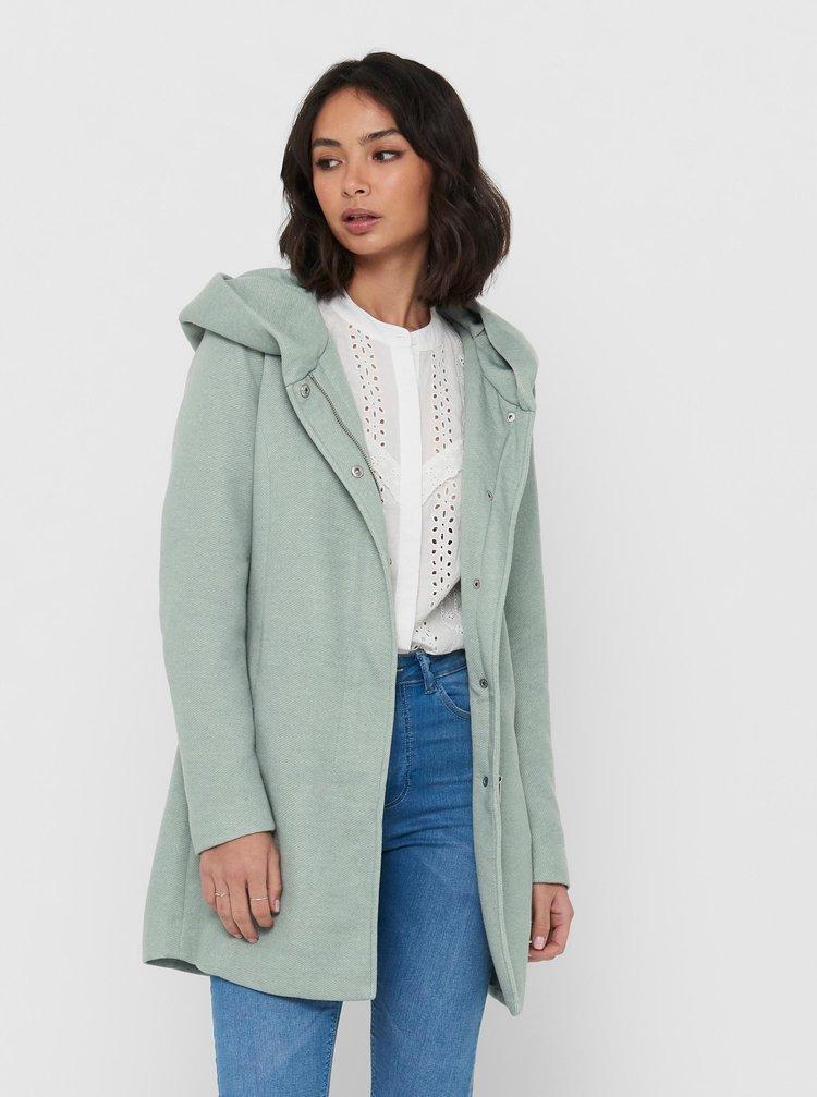 Světle zelený kabát s kapucí ONLY Sedona