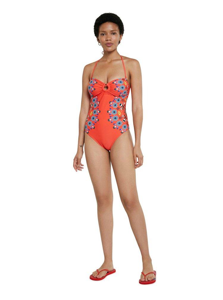 Desigual červené jednodielne plavky Biki Waikiki