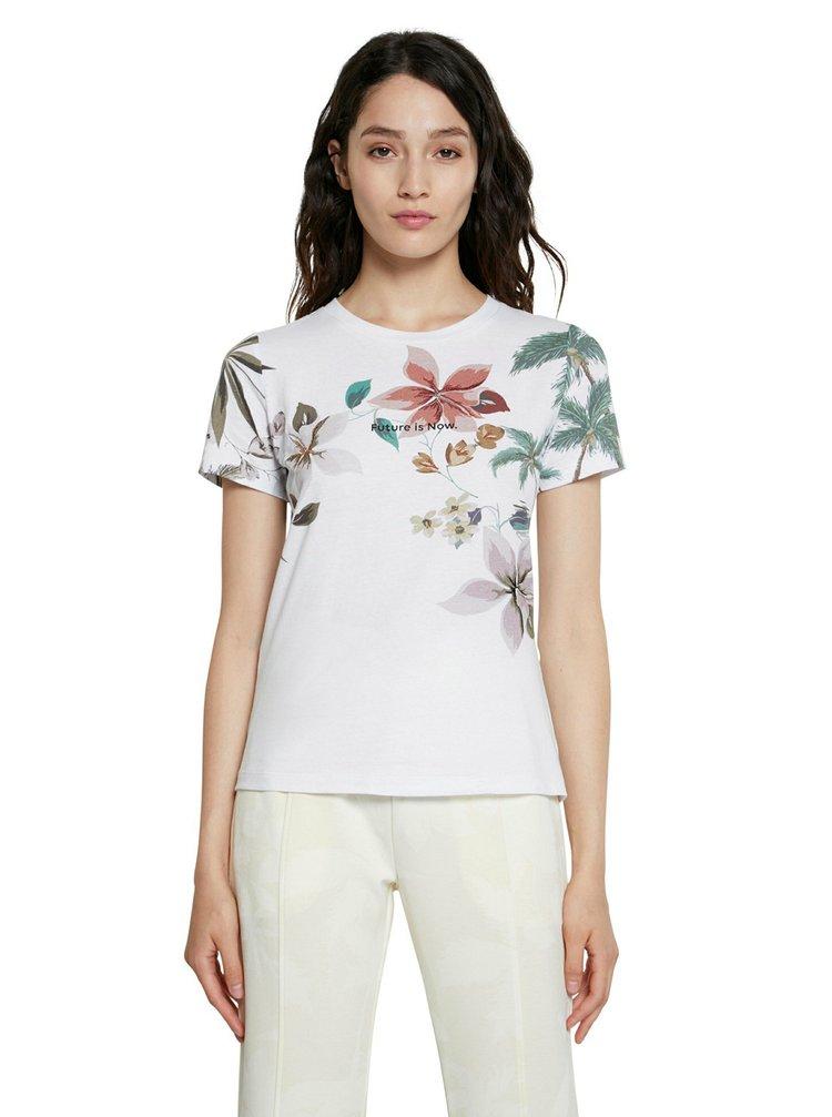 Desigual biele tričko Tee Crossed Open Back Life