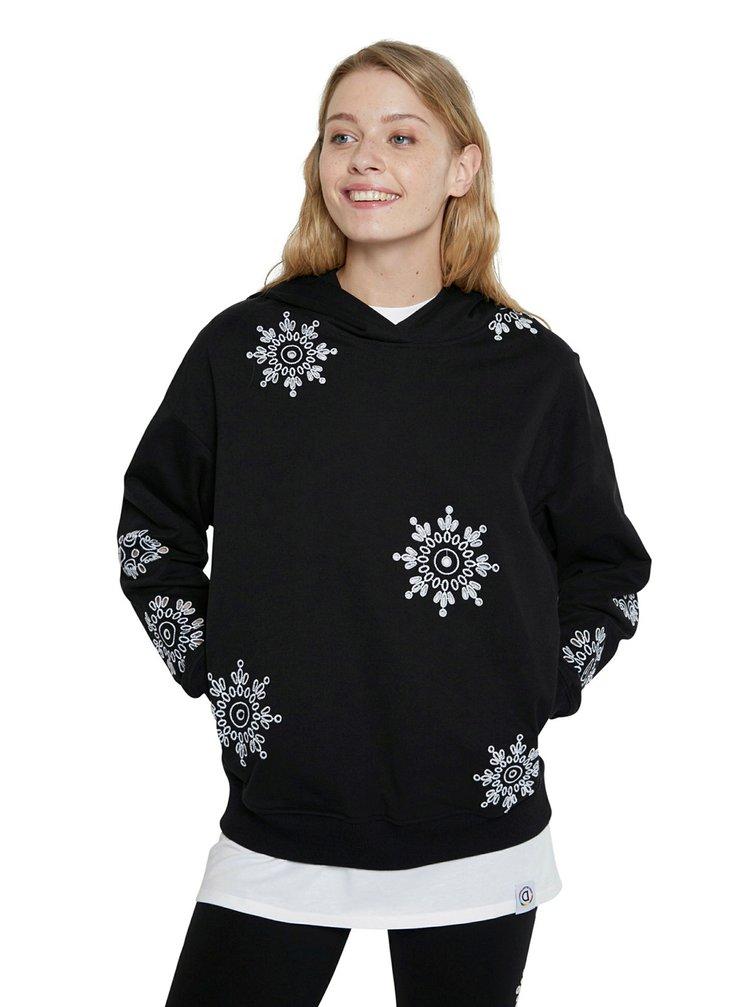Desigual černé dámská mikina Hoodie No Zip Swiss Emboidery