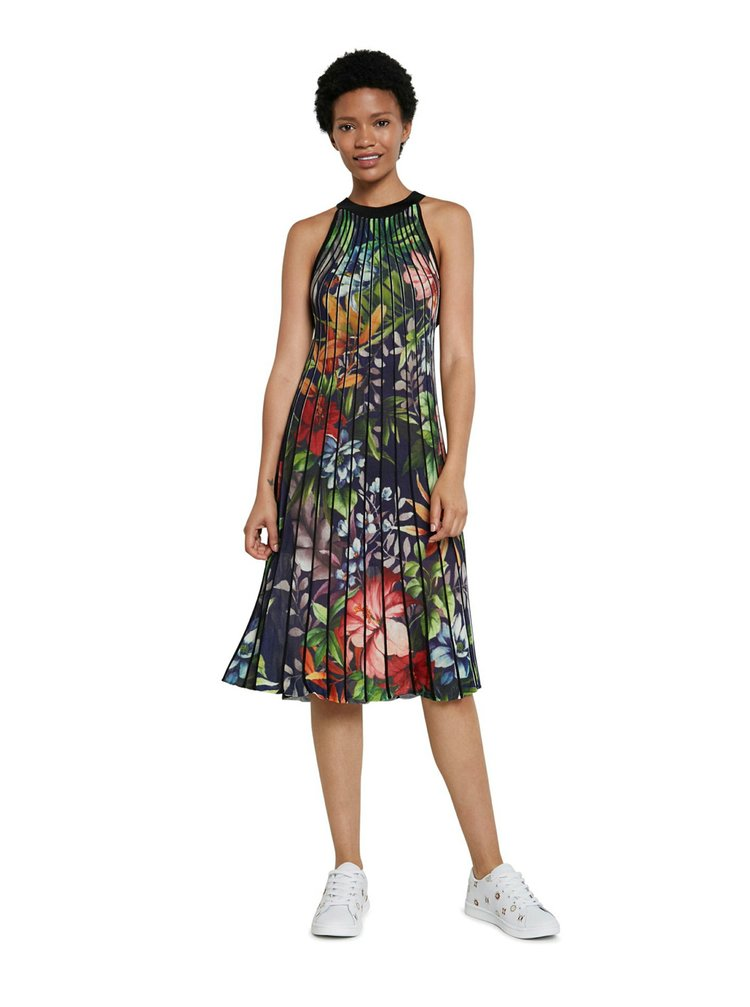 Desigual barevné plisované šaty Vest Brasil