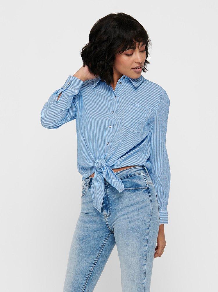 Modrá pruhovaná košile se zavazováním ONLY Lecey