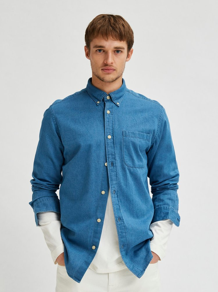 Modrá rifľová košeľa Selected Homme Regrick