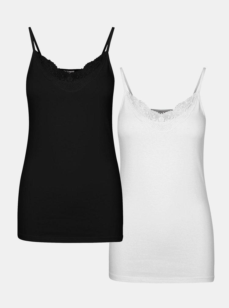 Sada dvou tílek v černé a bílé barvě VERO MODA Inge