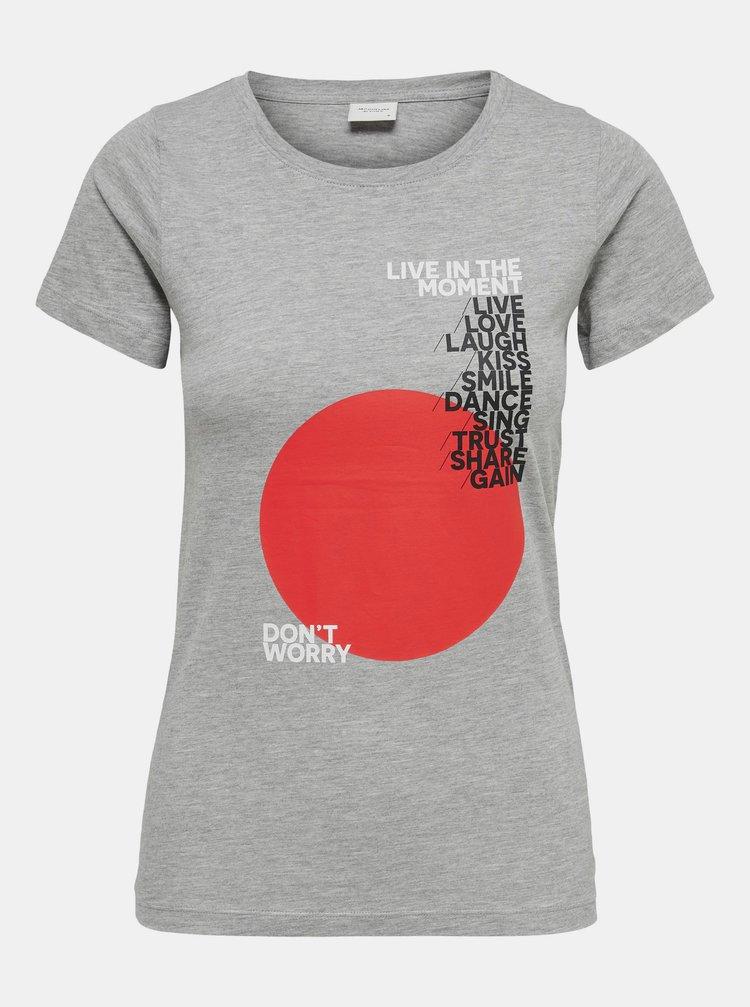 Šedé tričko s potiskem Jacqueline de Yong Chicago