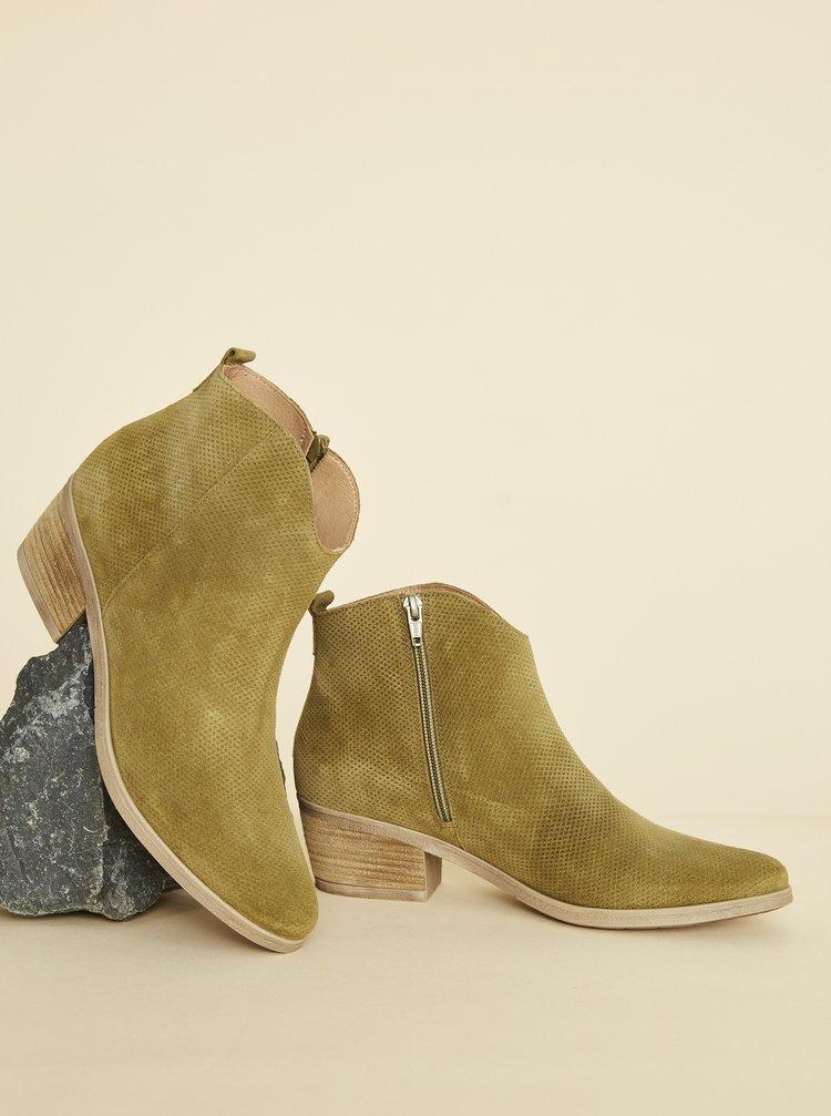 Khaki dámské vzorované semišové kotníkové boty OJJU