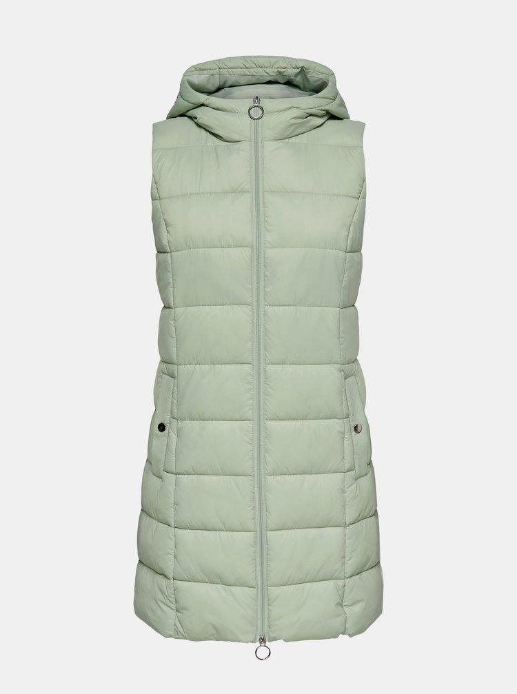 Světle zelená dlouhá prošívaná vesta Jacqueline de Yong Zulu